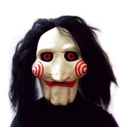 Wholesale Head Scary Movie - Wholesale-Hot Worldwide Saw Movie Jigsaw Puppet Mask Halloween Full Mask Head Latex Creepy Scary Worldwide Sale