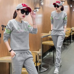 Wholesale Tennis Models Female - Casual Sportswear with Cashmere Thickened Female Models Large Size Korean Fashion Sweater Two Piece Set In Autumn And Winter M-XXL