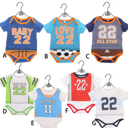 Wholesale Baby Bodysuits Short Sleeve - Ins Baby boy clothes Sports Numbers 22 Romper Bodysuits short sleeve Baby clothing Infants clothes briefs 0-2years