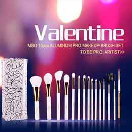 Wholesale Soft Cosmetic Cases - Professional 15pcs Makeup Brushes Kit Protravel Cosmetic Beauty Brushes Soft Synthetic Hair With Pu Leather Case For Valentine