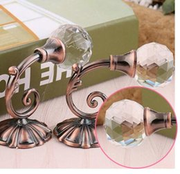 Wholesale Curtain Holders - New Large Metal Crystal Ball Curtain Hooks Tassel Wall Tie Back Hanger Holder Curtain Hanging Tools 4 colors
