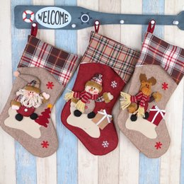 Wholesale Noel Christmas Ornament - Christmas Stocking Plaid Santa Claus Sock Gift Bag Kids Xmas Noel Decoration Candy Bag Bauble Christmas Tree Ornaments Supplies