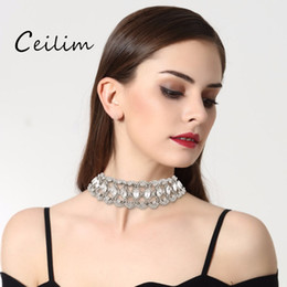 Wholesale full neck necklaces - Hot Selling Fashion Full Rhinestone Necklace Choker Women New Arrive Short Statement Necklace Collier Femme Neck Choker Wholesale
