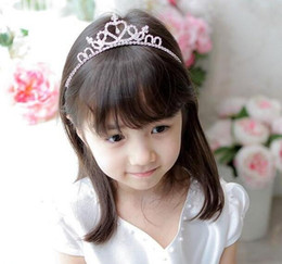 Wholesale Princess Headdress - Kid princess hair accessories Baby Girl Rhionestone Hairpins Combs Crown Hairbands Headdress Style Princess Tiara Gifts 24 pcs free shipping