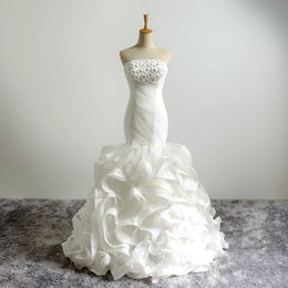 Wholesale Elegant Style Crystals Wedding Dresses - Real Photos Elegant Organza Lace Up Back Crystals Beads Mermaid Ruffles Wedding Dresses Flowers Wedding Gowns 2018 Style Dresses For Bride
