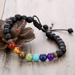 Wholesale Power Sellers - Yoga Reiki Weaving Thread Power Natural Stone Bracelet Adjustable Rope Essential Oil Diffuser Bracelet Top Seller Preferred Free DHL B739S