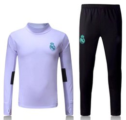 Wholesale Tracksuits Jacket Pants - 2017 2018 Real Madrid survetement football tracksuits training suits 17 18 soccer jacket Long pants wear sets RONALDO RAMOS