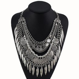 Wholesale Tassel Fringe Necklace - Wholesale-New Bohemian trendy Fringe Tassel Collar Statement Necklace Vintage Gypsy silver coin Ethnic Maxi Pendants Necklace Jewelry 4251