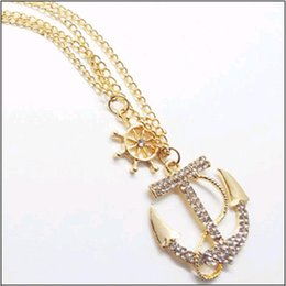 Wholesale Long Anchor Necklace - 2016 Hot Anchor Shape White Colored Rhinestones Lobster Clasp Pendant Necklaces Double Layers long Sweater Chain free shipping