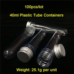 Wholesale Aluminum Vials - Cheap 100Pieces Lot 40ml Vaper Vials 5.5 Inch Long Aluminum lids & Plastic Tubes Wax Jars On Sale Free Shipping World Wide