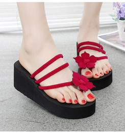 Wholesale Leather Sandals Pearls - summer women flip flops mules clogs wedge flower sandals garden shoes handmade pearl slippers jelly color hawaiian beach sandals