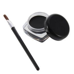 Wholesale Eyeliner Gel Pro - Wholesale-2 Sets Black Pro Waterproof Eye Liner Eyeliner Shadow Gel Makeup Cosmetic + Brush 2016 Hot Worldwide sale