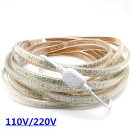 Wholesale Double White Led Strip - 2835 LED Strip Light 180led M Flex Tape Flexible Strips Bar Lights Double Row 1110V 120V 220-240V With Plug Waterproof