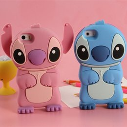 Wholesale Iphone 4s Soft Stitch Cases - New Arrival 3D Cartoon Lilo & Stitch Soft Silicone Case For iPhone 6 6S 7 Plus 4 4s 5 5s SE 6 6s Plus Air Stogdill Silicone Movable Ear Case
