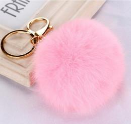 Wholesale Photo Earrings - Rabbit Fur Ball Keychain Soft Fur Ball Lovely Gold Metal Key Chains Ball Pom Poms Plush Keychain Car Keyring Bag Earrings Accessories