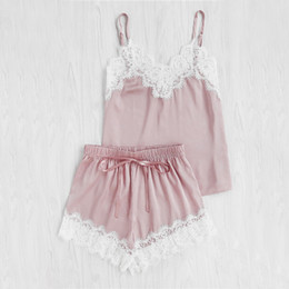 Wholesale Sexy Sleep Wear Set - Women Sleeping Wear Summer Sexy Pajama Sets Lace Trim Satin Spaghetti Strap Cami Top and Shorts Pajama Set
