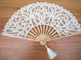 Wholesale Wholesale Ivory Lace Fans - Handmade Cotton Lace Hand Held Fan For Party Bridal Bamboo Frame Cosplay Wedding Props Fashion Fan Tulle