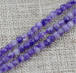 Wholesale Purple Jade Faceted - Blue Purple yellow Natural Faceted 4mm colored jade beads DIY Bracelets necklace Making Fine Charm jewelry Fashion Accessorie
