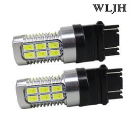 Wholesale 3157 white - WLJH Switchback Dual Amber White 3157 3057 3757 LED 5630 for Led Chips 12v - 24v Front Turn Signal Bulb for Ford