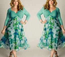 Wholesale Plus Size Beach Lace Sundresses - Women Leisure Green Floral Printed Dress High Waist Ladies Summer Beach Long Sundress Plus Size 3 4 Sleeves Dress L-3XL UK
