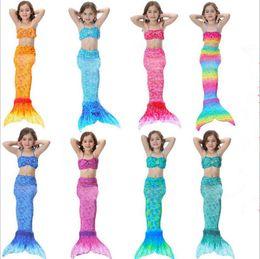 Wholesale Bikini Kinder - 3tlg Kinder Mädchen Schwanzflosse Bikini Badeanzug Bademode Meerjungfrau Kostüm