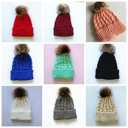 Wholesale Knitting Hats For Kids - 2017 Newborn Baby Girls Winter Warm Hat Fur Ball Pom Pom Cap Kids Winter Knitted Wool Hats Caps For Kids 6-24 Months