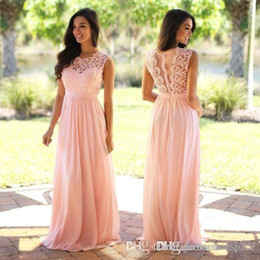 Wholesale Long Sheer Dresses Cheap - Elegant Coral Mint Bridesmaid Dresses Lace Appliqued Wedding Guest Dress Sheer Back Zipper Sweep Train Chiffon Cheap Formal Gown 2017