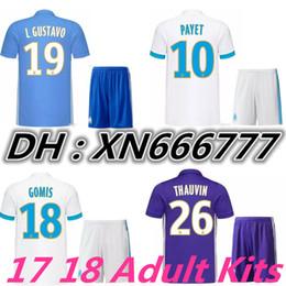 Wholesale Marseille Football Kit - Marseille Adult Kits Soccer jersey 2017 2018 OM Marseille Maillot De Foot CABELLA PAYET L.Gustavo THAUVIN jerseys 17 18 football shirt kit