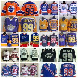 Wholesale Hero Blue - #99 Wayne Gretzky Jerseys Heroes Of Hockey Throwback Edmonton Oiler St. Louis Blues Rangers LA Kings Vintage Mens Ice Hockey Jerseys C Patch
