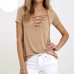 Wholesale Deep Hot Sexy - Hot Fashion Women Blouses 2017 Summer Blusas Sexy Lace Up Deep V Neck Short Sleeve Strech Shirts Solid Tops Plus Size S-3XL