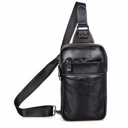 Wholesale Hobo Sling Handbag - Real Cow Leather Men's Chest Bags Black Sling Bag For Boy's Back packs Popular Satchels Shoulder Messenger Bag Handbags 4002A