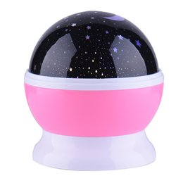 Wholesale Rotating Night Light Projector - Wholesale- 4 LED Sun And Star Lighting Lamp Romantic Room Rotating Cosmos Star Projector Starry Moon Sky Night Projector Kid Bedroom Lamp