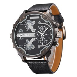 Wholesale Unique Big Watches - atches Quartz Wristwatches Oulm Exaggerated Large Big Watches Men Luxury Brand Unique Designer Quartz Watch Male Heavy Full Steel Leather...