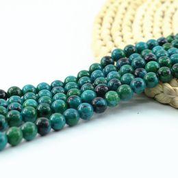 "Wholesale Gemstone Charm Beads - Charm Round Turriform Azurite Chrysocolla Jasper Gemstone Chrysocolla Lapis Lazuli Beads 4 6 8 10mm 15"" in Length L0095#"