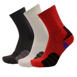 Wholesale Elite Football Socks - Mens new cotton thick bottom towel terry socks Deodorant movement male socks high elite basketball soccer sports crew sock free shipping