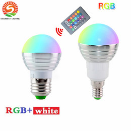 Wholesale e14 rgb led lamp bulb - DHL Free Ship 5W RGB led bulbs light E27 E26 E14 led lights RGBW (rgb+white) led lamp ac 110-240v + 24keys ir remote control