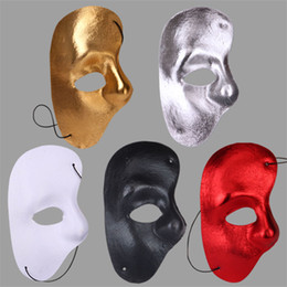 Wholesale Plastic Party Supplies - Phantom of The Opera Masks Masquerade Ball Mask Mardi Gras Masks Handmade Half-face Plain Color Plastic Mask Festive and Party Supplies