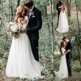 Wholesale Winter Short Chiffon Wedding Dress - Lace Wedding Dresses Long Sleeves Modest Country Wedding Dresses V Neck Floor Long Chiffon Bohemian Bridal Gown Plus Size
