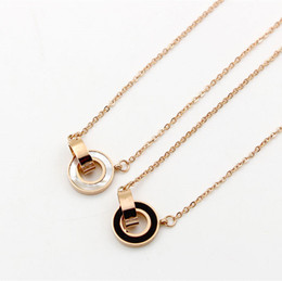 Wholesale Shell Korean - Wholesale Double ring White&balck Shell love Necklace for female Korean fashion women necklace do not fade