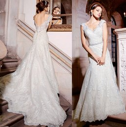 Wholesale Mermaid Scallop Dresses - 2017 mermaid wedding dresses cap sleeves sweetheart backless wedding gowns scallop neckline fit flare pretty mermaid bridal gowns