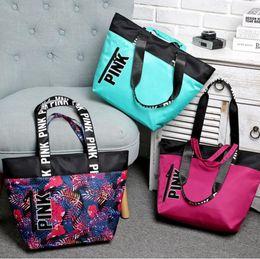 Wholesale Bags Women Handbag - VS Pink Handbags Women Pink Letter Floral Shoulder Bag Waterproof Shopping Bags Letter Beach Bag OOA2765