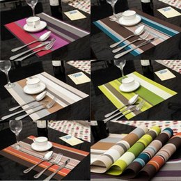 Wholesale Table Mats Decoration - PVC Dining Tables Placemat 6 color stripe Bar Mat kitchen accessories dining table mat bowl pad Table Decoration