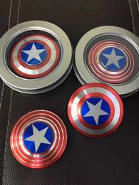Wholesale Marvel Toys Mini - 2017 New Popular Fashion Mini Fidget Toy Hand Spinner Metal Fingertip Gyro Stress Spinner Marvel Comics The Avengers Captain America Shield
