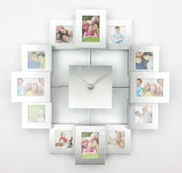 Wholesale Arts Wall Clock - Wholesale- Modern Design Photo Frame Clock with 12 Pictures Large Decorative Metal Wall Clock Living Room Art Decor Horloge Murale