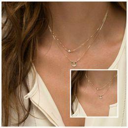 Wholesale Multi Layered Gold Necklace - Womens Multi layered Gold Sliver Tone Letter U Rhinestone Chokers Necklaces Fashion Jewelry