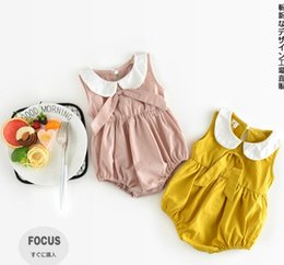 Wholesale Baby Pet Clothes - INS new arrivals summer baby kids climbing romper sleeveless pet pan collar yellow pink romper girl kids clothing B4631