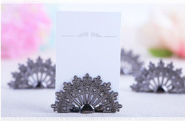 Wholesale Holiday Party Names - Antiqued Fan Place Card Holder Wedding Favors Gift Party Table Decoration Shower Peacock Name Card Holder 100 PCS lot