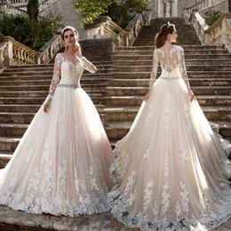 Wholesale Cathedral Train Flower - luxury Champagne Plus Size Lace Wedding Dresses Long Sleeve Sheer Illusion Lace Back Bridal Gowns Princess Bride Dresses Vestidos de novia