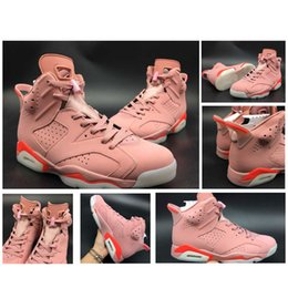 Wholesale Pink Rose Boots - 2017 Air Retro 6 Rose Pink infrared Men Basketball Shoes Top Quality Outdoors Sports Sneakers Boots Size41-47 384664-031