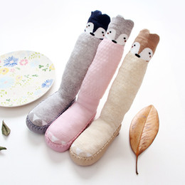 Wholesale Girl Korean Shoe - New 2017 Cartoon Baby Shoe Sock Korean Fashion Bunny Fox Boys Girls Stocking Antiskid Knee High Socks kid's Shoes Socks Children Socks A6349